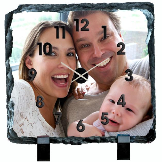 Photo Slate Clock Sqaure