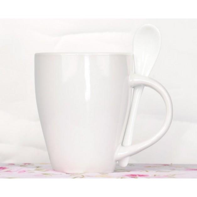 Ceramic mug with ceramic spoon white