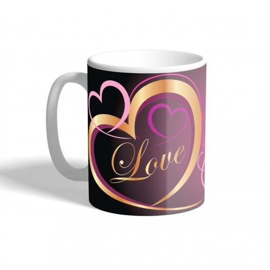 gold love heart mug
